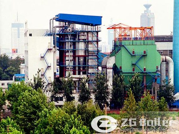 Gas fired circulating fluidized bed hot water boiler