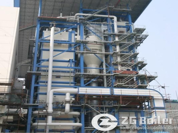 Coal fired circulating fluidized bed hot water boiler