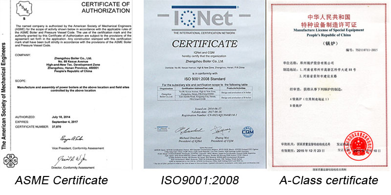 About QXX Circulating Fluidized Bed Hot Water Boiler Certificate picture